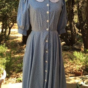 Vintage Girl Next Door Blue Calico Lace Dress